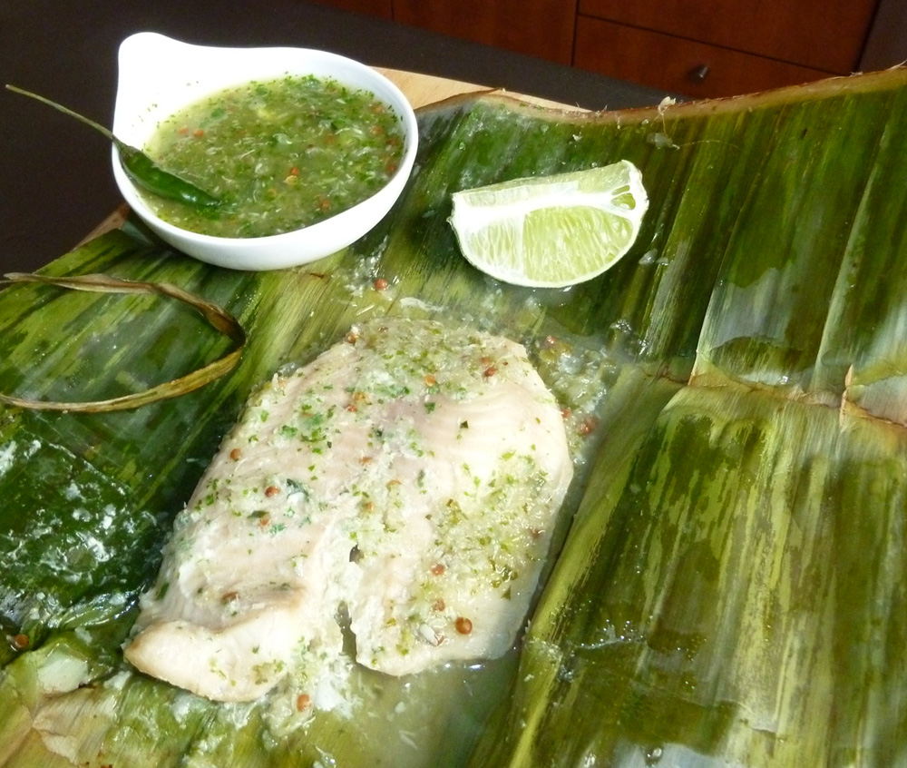 Thai-Style Baked Fish in Banana Leaf